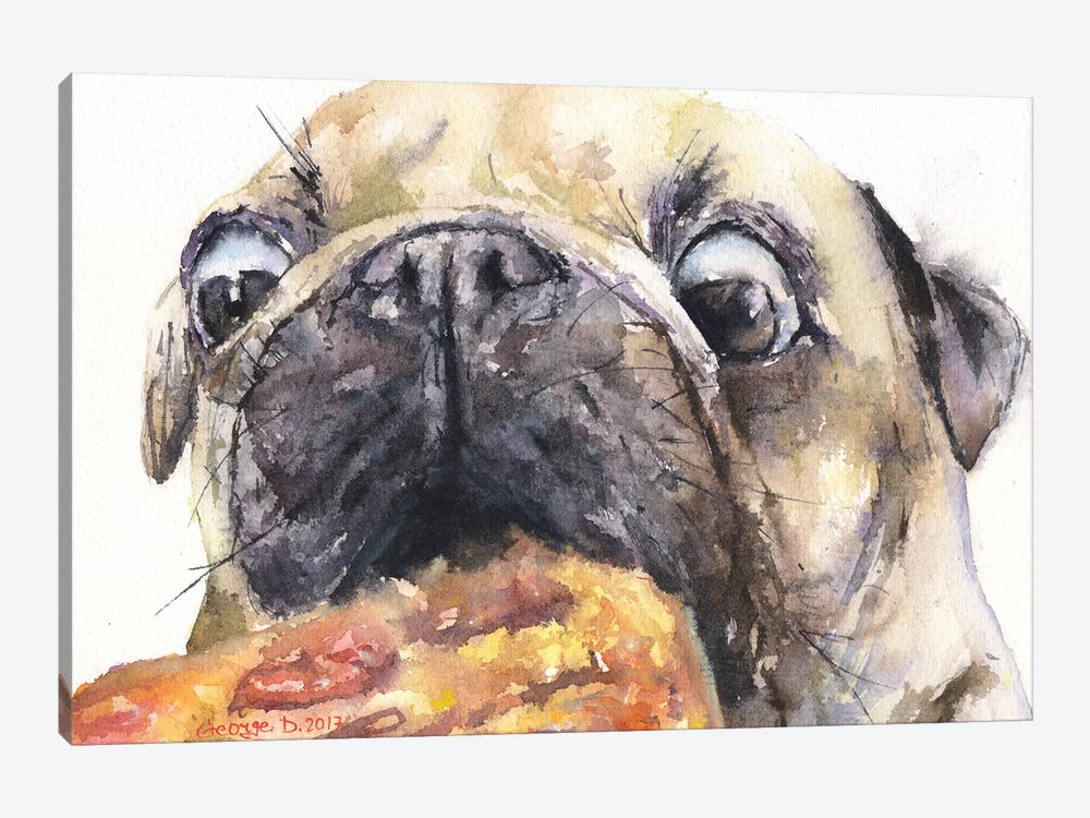 Pug And Pizza IV by George Dyachenko 1-piece Art Print