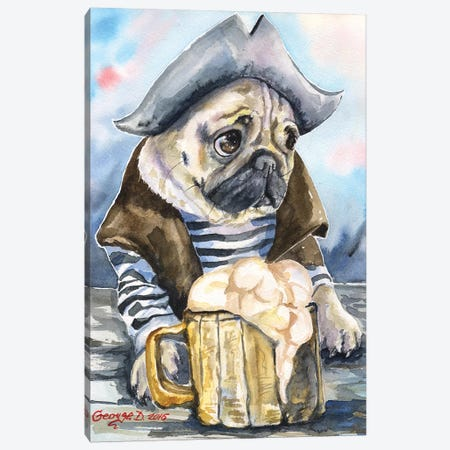 Pug The Sailor Canvas Print #GDY125} by George Dyachenko Canvas Artwork
