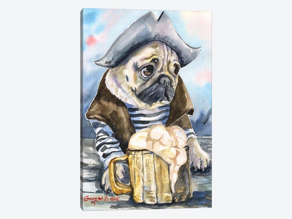 Pug The Sailor by George Dyachenko 1-piece Canvas Wall Art