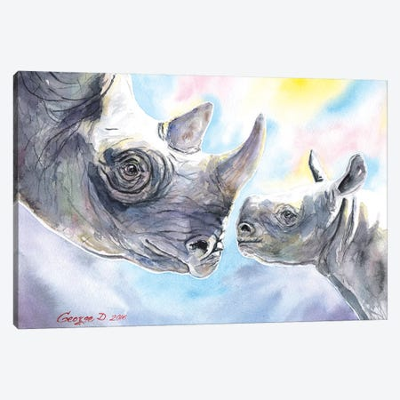 Rhino Family Canvas Print #GDY127} by George Dyachenko Canvas Wall Art