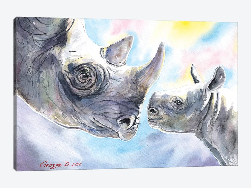 Rhino Family by George Dyachenko 1-piece Canvas Artwork