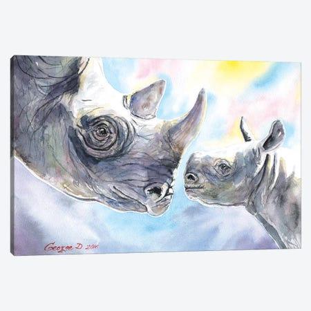 Rhino Family Canvas Print #GDY127} by George Dyachenko Canvas Wall Art