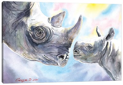 Rhino Family Canvas Art Print