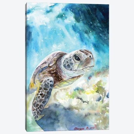 Sea Turtle Canvas Print #GDY130} by George Dyachenko Canvas Wall Art