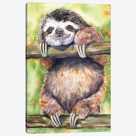 Sloth Canvas Print #GDY133} by George Dyachenko Canvas Wall Art