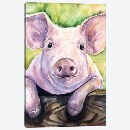 Smiling Pig Canvas Print #GDY134} by George Dyachenko Canvas Print