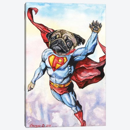 Superpug Canvas Print #GDY137} by George Dyachenko Canvas Print