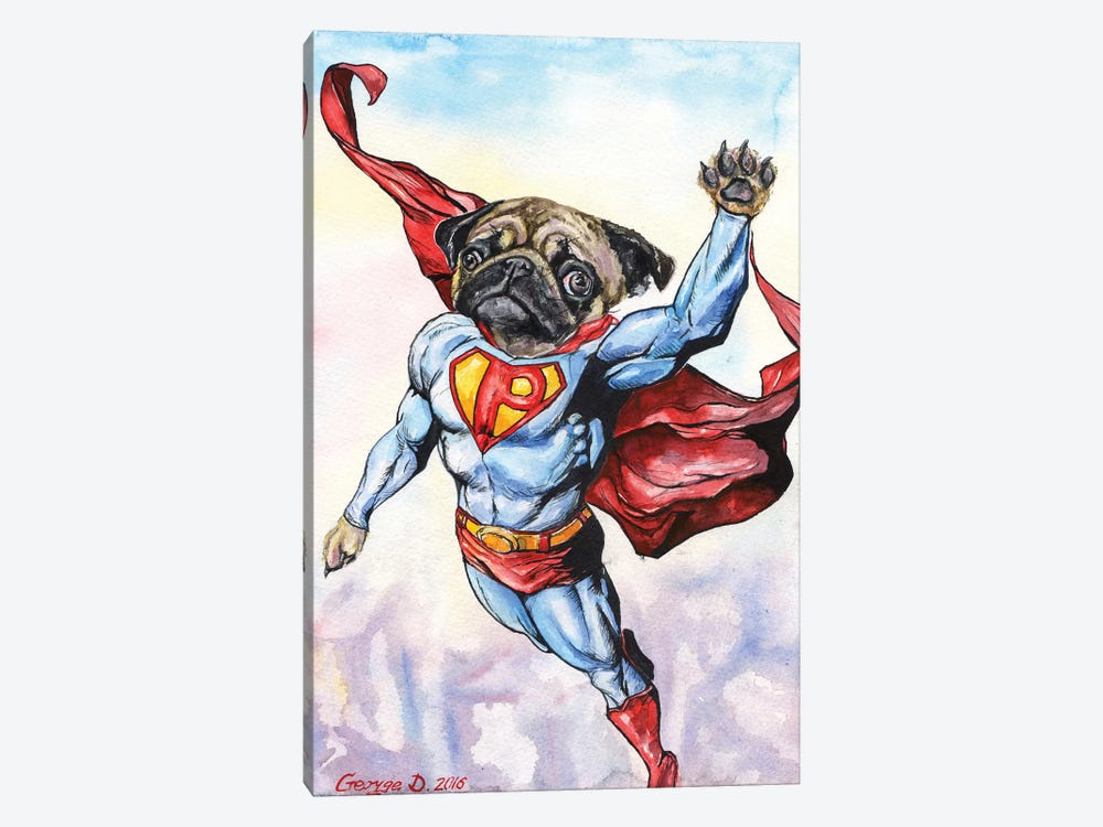 Superpug by George Dyachenko 1-piece Canvas Art Print