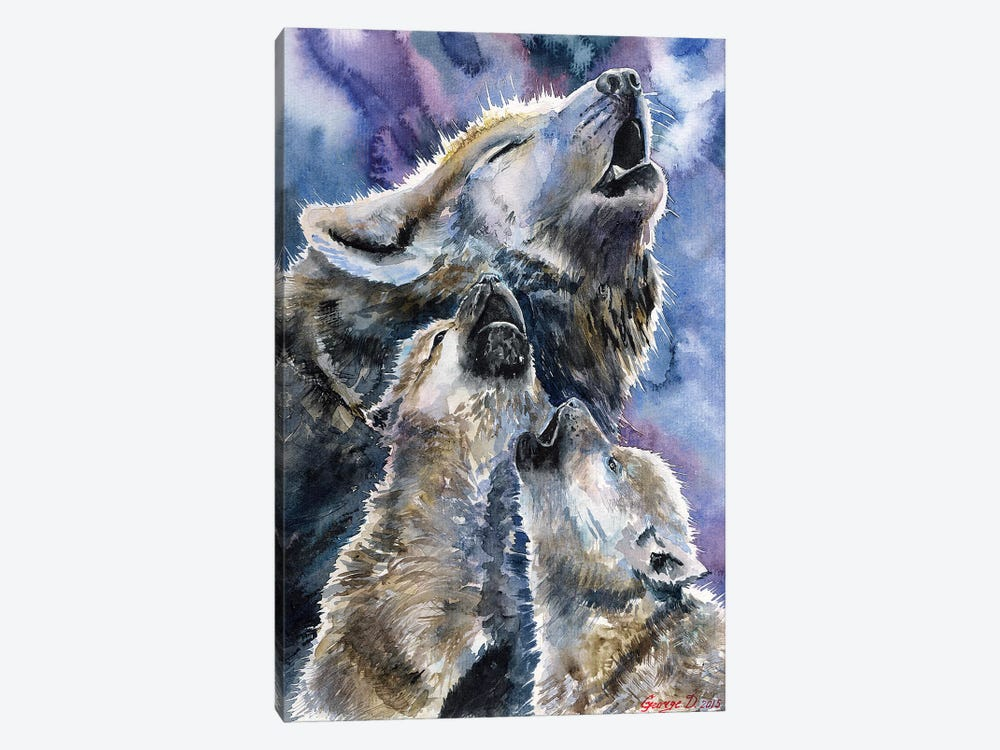 Wolf Family 1-piece Canvas Art