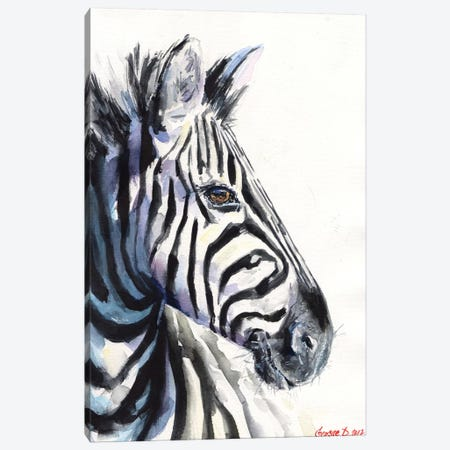 Zebra Canvas Print #GDY146} by George Dyachenko Canvas Artwork