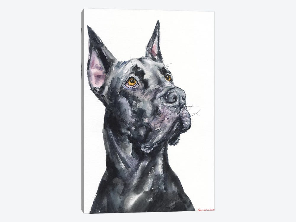 Black Great Dane by George Dyachenko 1-piece Canvas Art Print