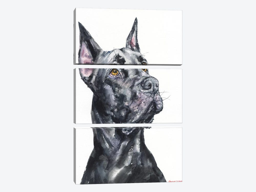Black Great Dane by George Dyachenko 3-piece Art Print