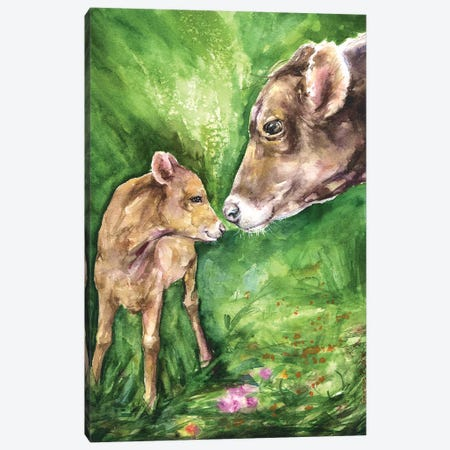 Cow and Baby Canvas Print #GDY153} by George Dyachenko Canvas Wall Art