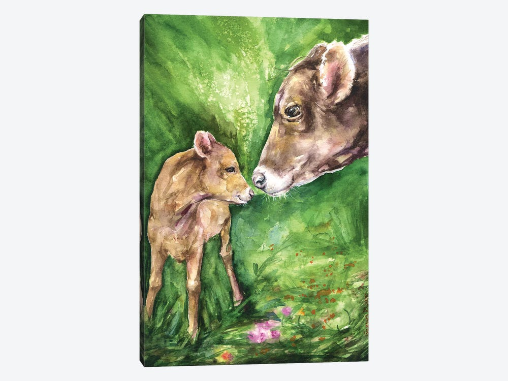 Cow and Baby by George Dyachenko 1-piece Canvas Art Print