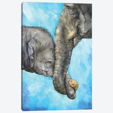 Elephants - Pure Family Canvas Print #GDY157} by George Dyachenko Canvas Print