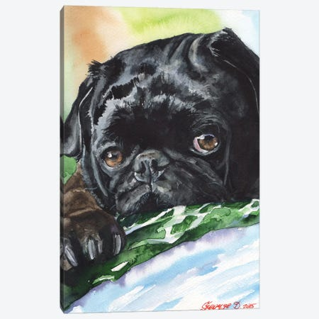Black Pug Canvas Print #GDY15} by George Dyachenko Canvas Print
