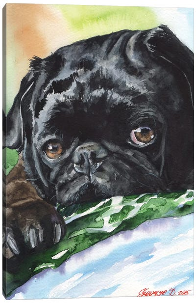 Black Pug Canvas Art Print