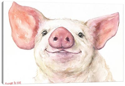 Happy Piggy Canvas Art Print