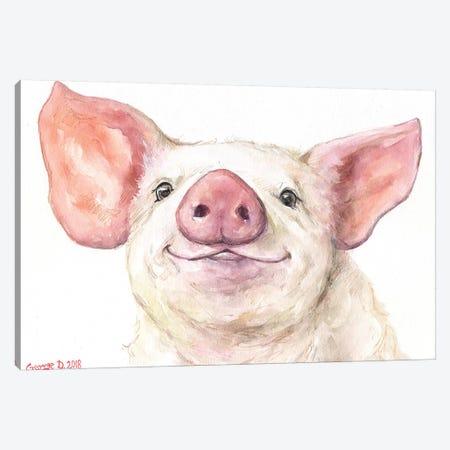 Happy Piggy Canvas Print #GDY167} by George Dyachenko Canvas Art