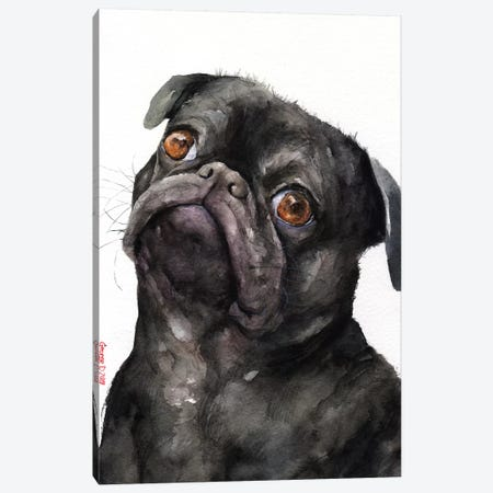 Black Pug Canvas Print #GDY182} by George Dyachenko Canvas Art Print