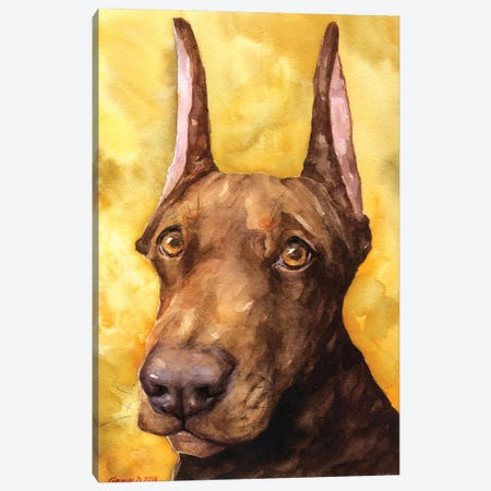 Brown Doberman Canvas Print #GDY183} by George Dyachenko Art Print