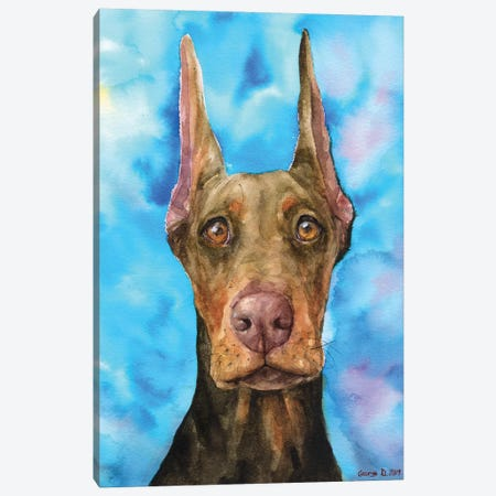 Chocolate Doberman Canvas Print #GDY184} by George Dyachenko Canvas Wall Art