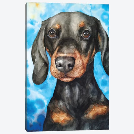 Cute Dachshund Canvas Print #GDY185} by George Dyachenko Canvas Art