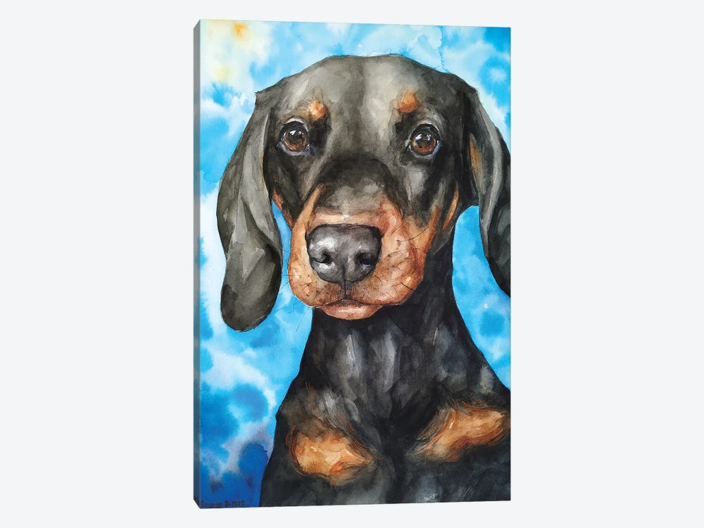 Cute Dachshund by George Dyachenko 1-piece Canvas Artwork
