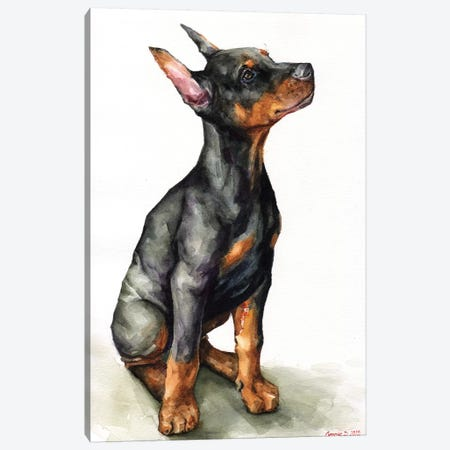 Doberman Puppy Canvas Print #GDY189} by George Dyachenko Canvas Art Print