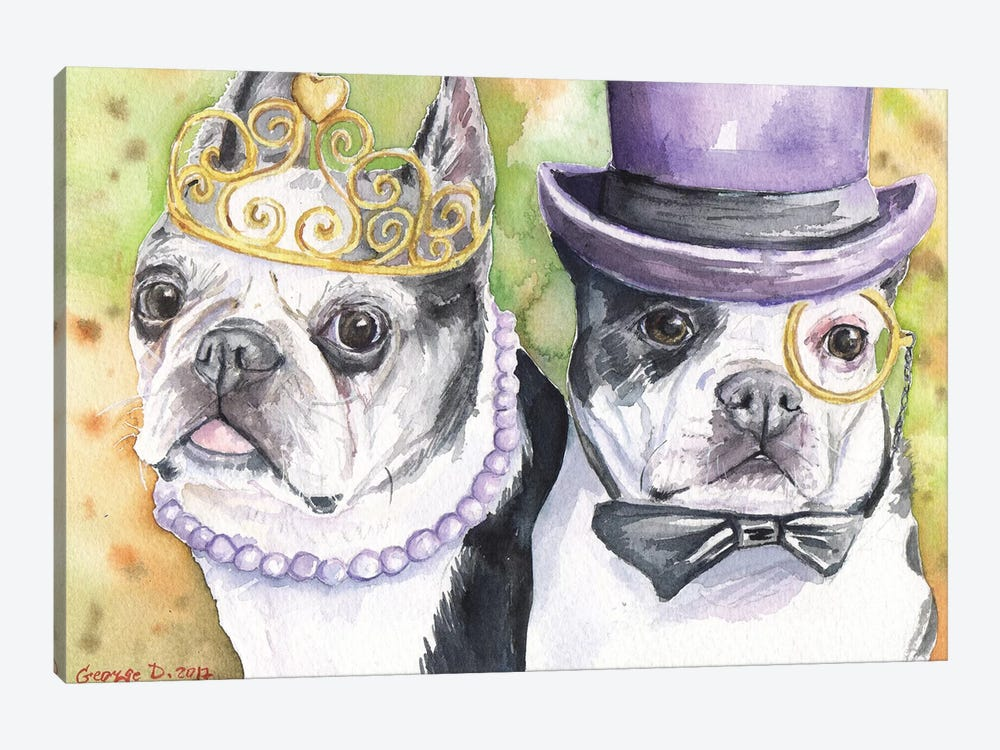 Boston Terrier Family by George Dyachenko 1-piece Art Print