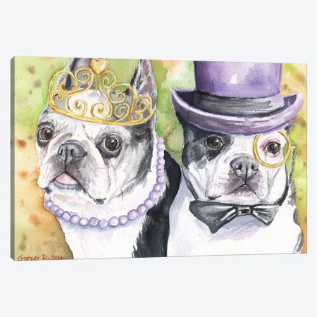 Boston Terrier Family Canvas Print #GDY18} by George Dyachenko Canvas Artwork