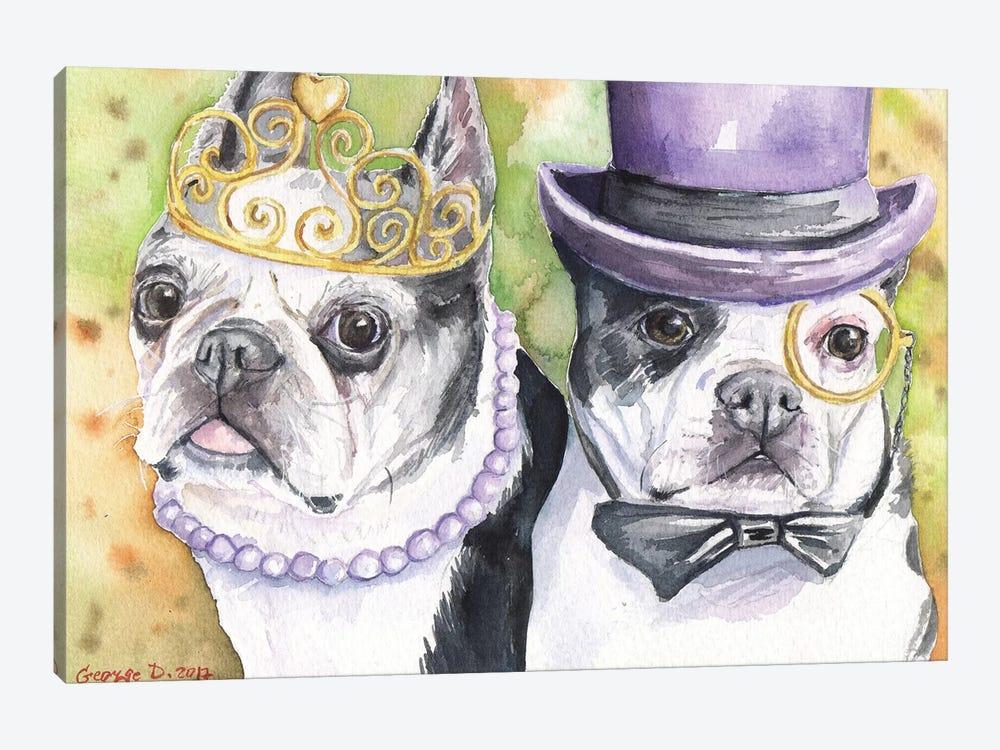 Boston Terrier Family by George Dyachenko 1-piece Art Print