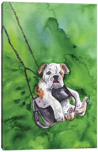 American Bulldog Puppy Canvas Art Print