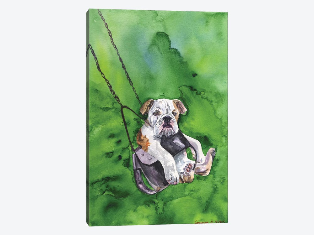 American Bulldog Puppy by George Dyachenko 1-piece Canvas Wall Art