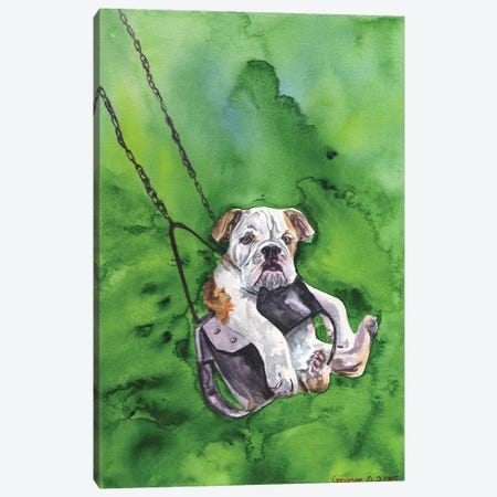 American Bulldog Puppy Canvas Print #GDY1} by George Dyachenko Canvas Art
