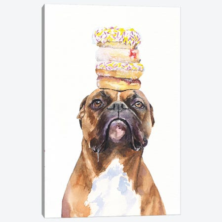 Boxer And Donuts Canvas Print #GDY200} by George Dyachenko Canvas Art