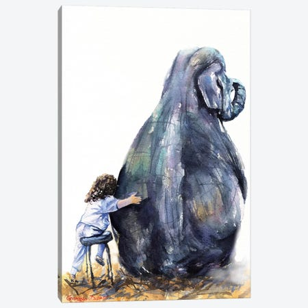 Elephant And Girl Canvas Print #GDY214} by George Dyachenko Canvas Artwork