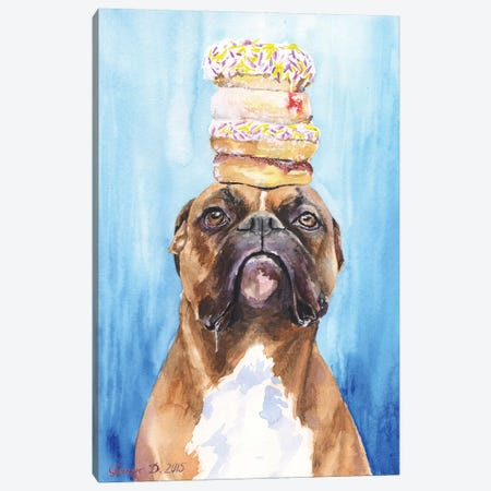 Boxer And Donuts Canvas Print #GDY21} by George Dyachenko Canvas Print