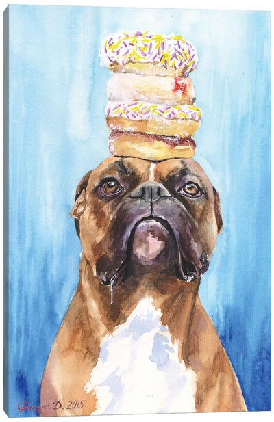 Boxer And Donuts Canvas Art Print