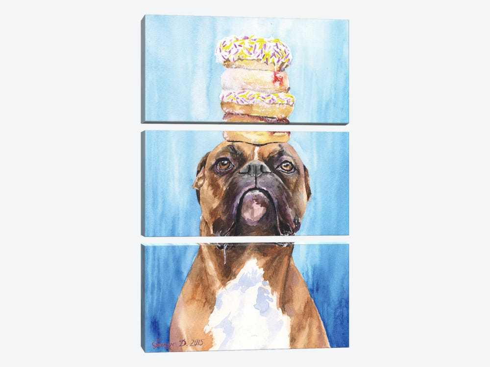 Boxer And Donuts by George Dyachenko 3-piece Canvas Art Print