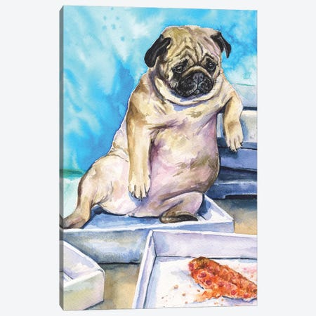 Pug And Pizza Canvas Print #GDY228} by George Dyachenko Canvas Art