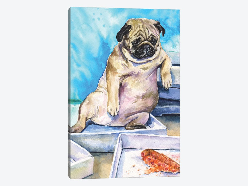 Pug And Pizza by George Dyachenko 1-piece Canvas Print
