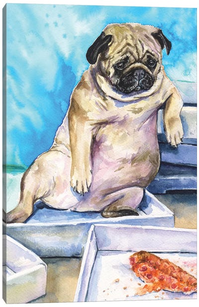 Pug And Pizza Canvas Art Print