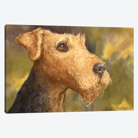 Airedale With Background Canvas Print #GDY240} by George Dyachenko Canvas Artwork