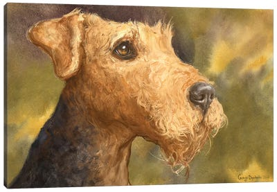 Airedale With Background Canvas Art Print