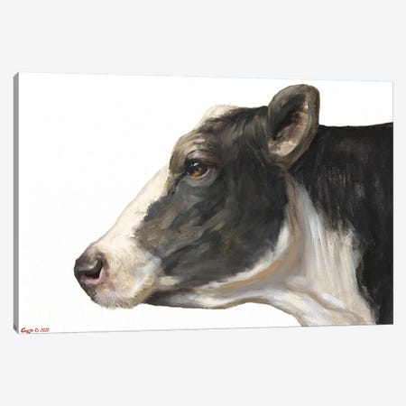 Cow White Background Canvas Print #GDY246} by George Dyachenko Canvas Art Print