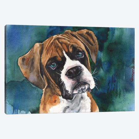 Boxer Puppy Canvas Print #GDY24} by George Dyachenko Canvas Art