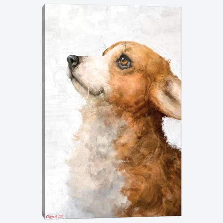 Corgi Puppy Canvas Print #GDY250} by George Dyachenko Canvas Art Print