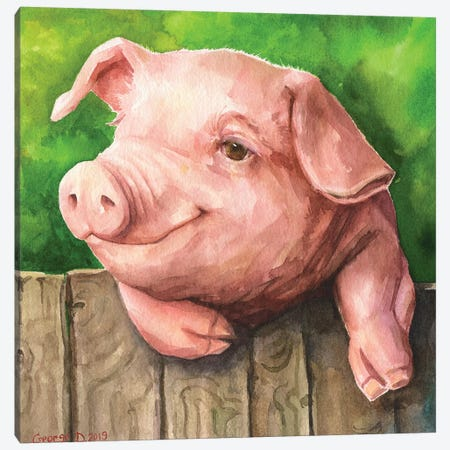 Little Piggy With Background Canvas Print #GDY254} by George Dyachenko Canvas Art