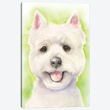 Westie Light Background Canvas Print #GDY256} by George Dyachenko Canvas Artwork